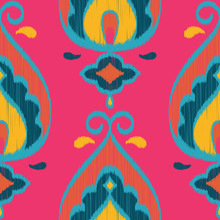 Seamless Vector Ikat Textured Teardrop Paisley Geometric Pattern In Hot Pink, Teal, Orange, & Navy
