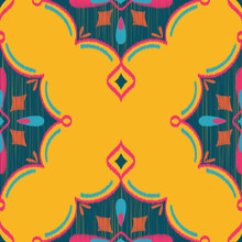 Seamless Vector Ikat Textured Teardrop Diamond Geometric Pattern In Yellow, Hot Pink, Navy, & Teal