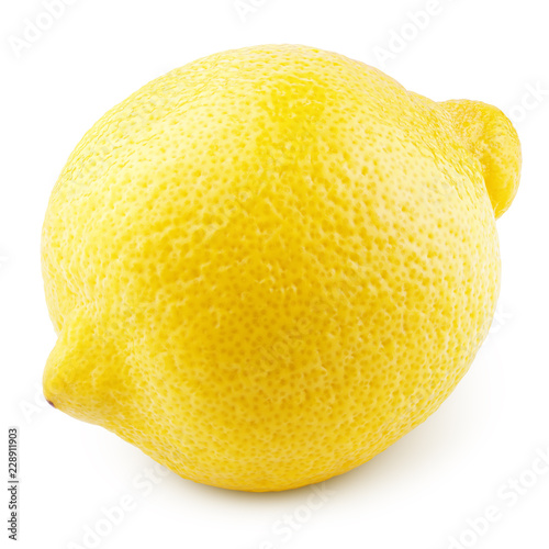 Poster Fruit Ripe whole yellow lemon citrus fruit isolated on white background with clipping path. Full depth of field.