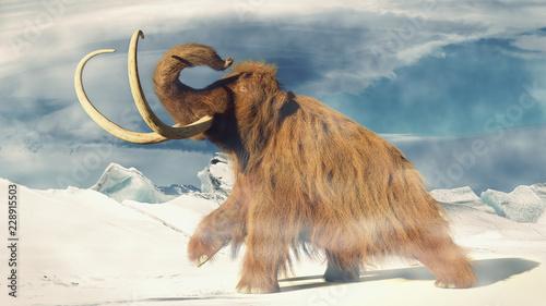 Fototapeta premium włochaty mamut, prehistoryczne zwierzę w krajobrazie mroźnej epoki lodowcowej (ilustracja 3d)