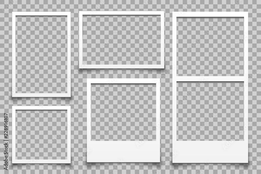 Fototapeta Empty white photo frame - vector