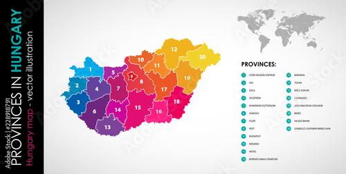 Fotografia  Vector map of Hungary province rainbow colors