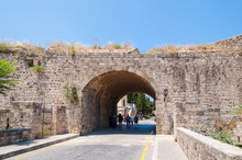 Medieval City Wall To Rhodes, Old Town, Island Of Rhodes, Greece, Europe.