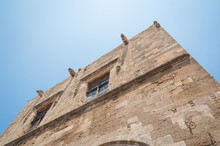 Megaro Kastellania Building In Hippocrates Square. Rhodes, Old Town, Island Of Rhodes, Greece, Europe.