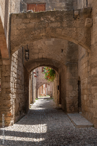 Residential alley and dwellings in old town.  Rhodes, Old Town, Island of Rhodes, Greece, Europe.