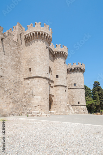 Towers of The Palace of the Grand Master of The Knights of Rhodes. Rhodes, Old Town, Island of Rhodes, Greece, Europe.