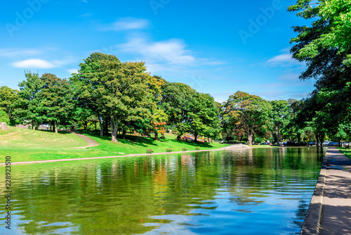A long pond in Duthie park near the entrance, Aberdeen, Scotland Canvas Print