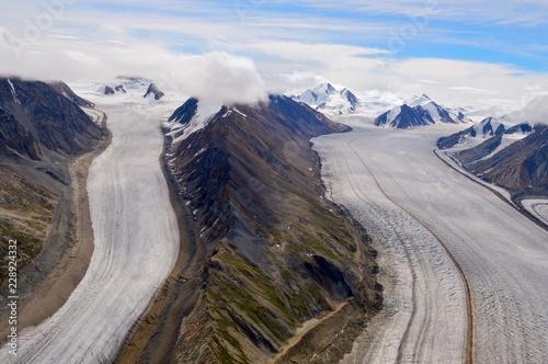 Kaskawulsh Glacier Split by Mountains