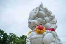 White Stone Chinese Guardian Lion In Chinese Temple, Kanchanaburi Thailand