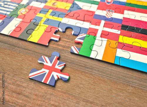 Fotografie, Obraz  Brexit - United Kingdom European Union Puzzle Pieces