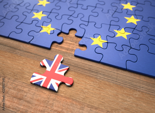 Fotomural Brexit - United Kingdom European Union Puzzle Pieces