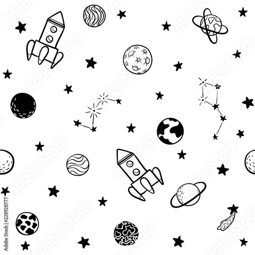 recznie-rysowany-wzor-rakiety-w-kosmosie