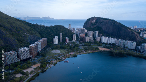 aerial view of the drone of the lagoon in rio de janeiro and copacabana, at dusk Canvas Print