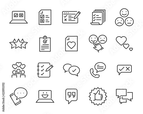 Obraz set of feedback line icons, such as, question, review, test, app - fototapety do salonu