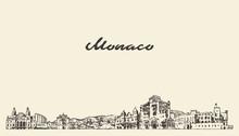 Monaco Skyline, Vintage Vector City Drawn Sketch
