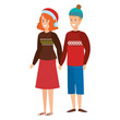 young couple with winter clothes