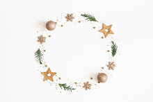 Christmas Composition. Christmas Wreath Made Of Golden Decorations, Fir Tree Branches On White Background. Flat Lay, Top View, Copy Space