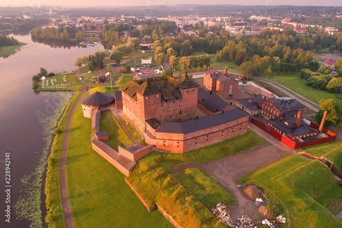 Fotobehang Noord Europa Hameenlinna fortress-prison in the early July morning (shot from a quadcopter). Finland