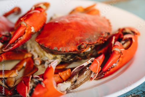 Fotobehang Schaaldieren undressed roasted crabs prepared on plate. Thailand seafood