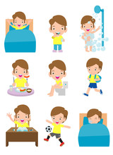 Daily Routine Activities For Kids With Cute Boy,routines For Kids, Daily Routine Of Children, Little Child Daily Activities, Daily Routine Set With Cute Kids Vector Illustration On White Background