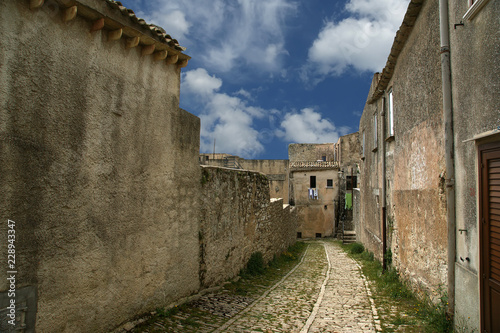 Fotografie, Obraz  Ancient streets in old italian style. Erice, Sicily, Italy