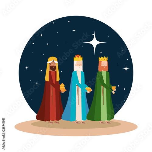 Leinwand Poster wise kings manger on desert night scene