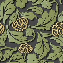 Seamless Relief Sculpture Decoration Retro Pattern Green Spiral Curve Leaf Yellow Flower