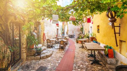 Ulica w średniowiecznej Eze wiosce przy francuskim Riviera wybrzeżem, Cote d'Azur, Francja