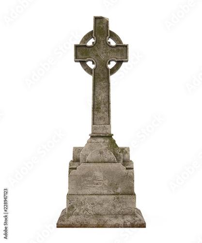Fényképezés Cross Tombstone Isolated
