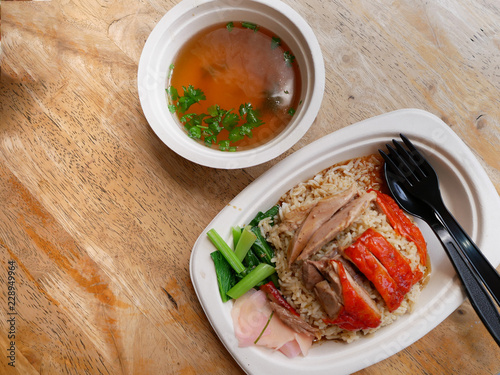 roasted duck over stream rice with soup on bagasse dish Wallpaper Mural