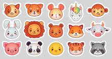Animals Face Stickers. Cute Animal Faces, Kawaii Funny Emoji Sticker Or Avatar. Cartoon Vector Illustration Set
