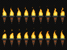 Torch Fire Animation. Burning Cresset, Flames On Torches And Flambeau Animated Loop Sequence Isolated Vector Set