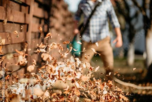 Fotografia, Obraz close up details of leaves swirling up when worker uses home leaf blower