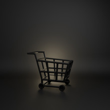 Empty Black Basket Trolley Cart In The Studio Lighting , Copy Space Text, Design Creative Concept For Black Friday Sale Event. 3D Rendering Illustration.