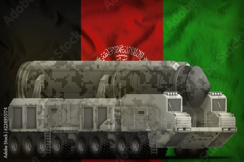 Obraz intercontinental ballistic missile with city camouflage on the Afghanistan national flag background. 3d Illustration - fototapety do salonu
