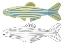 Fish Cartoon. Coloring Book. A...