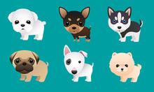 Cute Puppy Vector Set Pomerani...