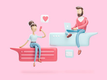 3d Illustration. Boy And Girl Are In Love Chat. Social Media Concept