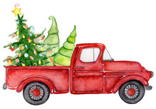 Red Christmas Truck With Pine Trees New Year Watercolor Illustration