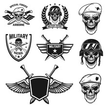 Set Of Military Emblems With P...