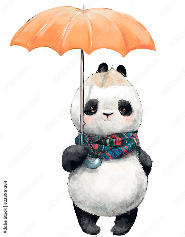Little Panda with umbrella