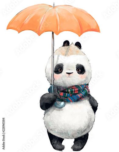 Fototapeta premium Mała Panda z parasolem