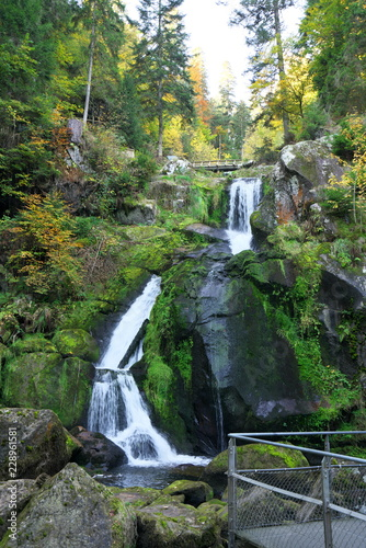 Keuken foto achterwand Watervallen TBaden-Wurttemberg, Germany-October 12, 2018: Triberger Waterfall, the highest waterfall in Germany, in Black Forest