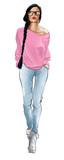 Stylowa moda model kobiety w dżinsach - 228963545