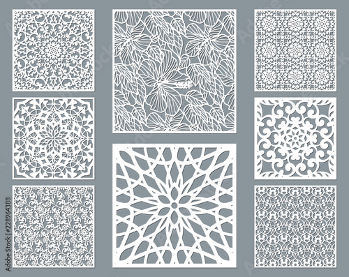 Foto Laser cut decorative panel set with lace pattern, square ornamental templates collection for die cutting or wood carving, element for wedding invitation card
