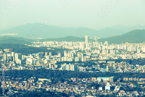 Sunrise in Seoul, view from the Asan Mountain in the early morning, South Korea