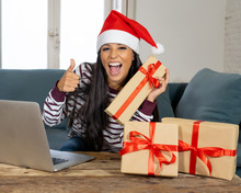 Happy Attractive Woman Buying Christmas Presents Online Looking Excited
