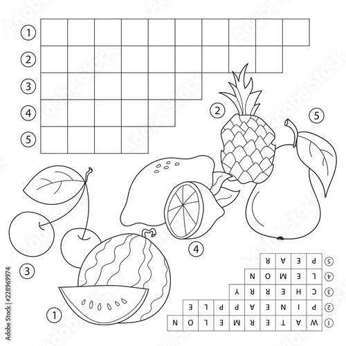 Crossword puzzle game with fruits. Educational page for children for study English words. Vector cartoon image and coloring book