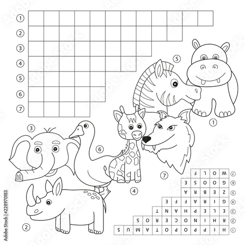 Vector crossword coloring book page, education game for ...
