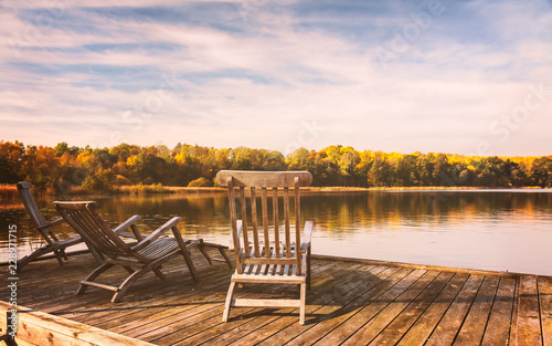Sunloungers by lake